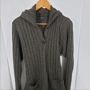 Brittany Black Sweaters - Brittany Black Long Brown Sweater with Hood